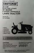 Sears Craftsman 20.0 Hp 6-speed 42 Lawn Tractor 917.270930 Owner And Parts Manual
