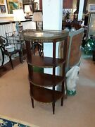 Antique French Bronze Mounted Marble Top Demilune Shelf Etegere