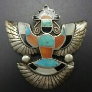 Alonzo Hustito 1940s Knifewing Inlay Pin/brooch Sterling Turquoise Coral Jet Mop