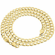 10k Yellow Gold Solid Plain Curb Cuban Chain 5.5 Mm Necklace 18 - 34