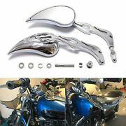 Motorcycle Chrome Flame Mirrors For Harley Davidson Xl Sportster 883 1200 Fatboy