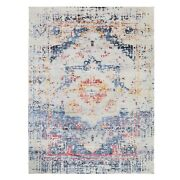 8and039x10and039 Colorful Erased Design Silk With Textured Wool Hand Knotted Rug R58037