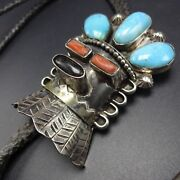 Signed Vintage Navajo Sterling Silver Coral And Turquoise Kachina Bolo Tie
