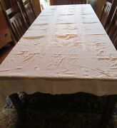 Large Hand Stitched Embroidered Floral Tablecloth 134 X 65