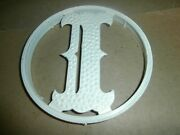 Vtg Metal Round House Front Screen Door Last Name Letter Initial I Plaque Sign