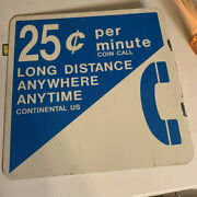 Vintage 100 Original 25 Cent Pay Phone Flange Double Sided Metal Sign Gas Oil S
