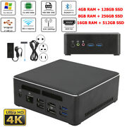 Mini Pc 4g/8g/16g Ram Ddr4 128g/256g/512gb Ssd Wifi Hdmi Usb Amd 2500u For Win10