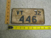 1932 32 Vermont Vt Motorcycle License Plate 446