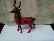 1920's An Arcade Toy Red Reindeer Cast Iron Penny Bank W/sticker