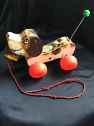 Vtg 1965 Fisher Price Little Snoopy 693 Wooden Pull Toy Dog With Shoe In Mouth