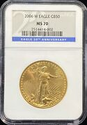 2006 W American Eagle 50 Dollar Gold Coin 20th Anniversary Ngc Ms 70