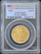 2005 American Eagle 25 Dollar Gold Coin Pcgs Ms 69