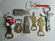 A Bevy Of 8 Lot 70s Vintage Bottle Openers Gambrinus , Pivoar Holesovice , Boma