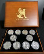 Queen's Beast 2 Oz Silver Coin Set And Wooden Presentation Box 10 Coins And Box