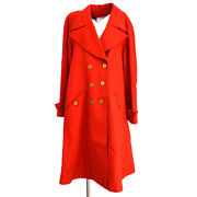 94a 42 Cc Button Long Sleeve Jacket Coat Red Cashmere Authentic 00997