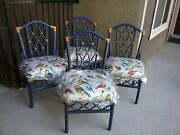 Vintage Rattan Dining Club Chairs Set Of 4 New Artisan Paint New Linen Will Ship
