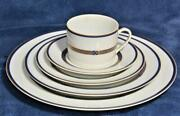 New Manufacture Royale Limoges France Blue Gold Val D'isere 5 Pc Place Setting