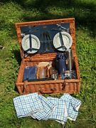 Ascot Wicker Picnic Basket For 4 W/ Thermos Blanket Plates Glasses - New