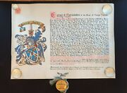 King Edward Vii Albert Signed Document Box Grant Arms Patent Nobility Royalty Uk