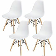 Set Of 4 Style Chair Dining Chairs For Kitchen Bedroom Living Room White