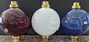 New Fenton Red, White, And Blue Glass Lightning Rod Balls With Brass Caps