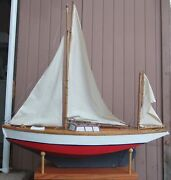 Antique Model Hollow Wood Yacht Sailboat Yawl Ship Pond Boat 48 Long 4and039 Tall