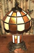 Vintage Mid Century M.c. Co / Gim Leaded Stained Glass Lamp W/night Light