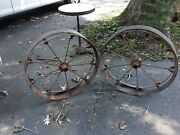 Pair Antique Iron Tractor Or Wagon Wheels Rustic Industrial