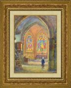 Victor Louis Cuguen, French Antique Oil On Panel Painting Religious Church