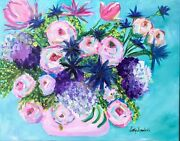 Southern Accent Painting Pink Flowers Modern Art Palm Beach Decor 28x22 Canvas