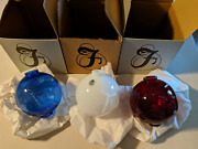 3 New Old Stock Box Fenton Red, White, And Blue Glass Lightning Rod Ball