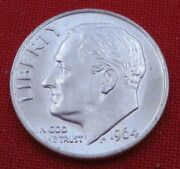1964 P Roosevelt Dime - Full Torch And Bands - Uncirculated - 90 Silver 12123