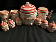 Peppermint Snowman Canister, Salt And Pepper Shakers And Mugs By Tii Collection.