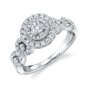 Diamond Halo Engagement Ring 14k White Gold Round Cut Natural Certified 0.86 Tcw