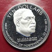 1974 Bahamas Large Independence Milo Butler Vintage Proof Silver 10 Coin I85626