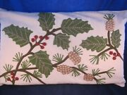 Pottery Barn Christmas Throw Pillow Crewel Holly And Pine Cones Insert Vintage