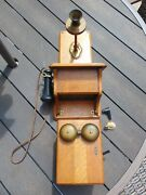 Kellogg Rare Antique Wall Mount Crank Telephone With Ringer Box And Rotary Dial