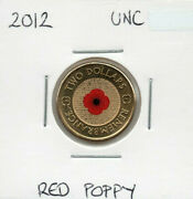 2012 Australian 2 Red Poppy Uncirculated Coin In 2x2 Holder