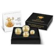 2021-w 4-coin Proof Gold American Eagle Set With Box And Coa - Type 2