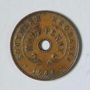 1944 Southern Rhodesia George Vi Half 1/2 Penny Coin Uncirculated