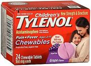 Tylenol Childrenand039s Pain + Fever Chewable Tablets Grape Flavor 24 Ct 12-pack