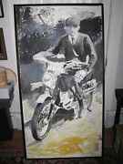 X-large Mid Century Abstract Expressionist Young Man Motor Bike Oil Canvas C1960