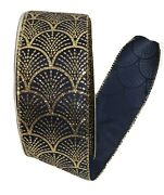 Christmas Ribbon Blue Gold 2.5 Inches Wide