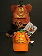 Nwt Disney Loungefly Halloween 2019 Pumpkin Mickey Mouse Backpack-hat-ears+patch