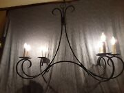 Currey And Company Scrolled Wrought Iron 6 Candle Kitchen Chandelier 43tx43lx18d