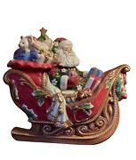 Fitz And Floyd Christmas Cookie Jar, Santa's Sleigh Full Of Toys And Gifts