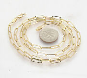 Fashion Elongated Paper Clip Chain Necklace Real 10k Yellow Gold 14 Thru 46