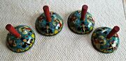 4-vintage U.s. Metal Toy Co. Tin Litho Party Noise Makers. New Years Themed.
