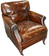28 W Club Arm Chair Vintage Brown Cigar Distressed Leather Great Comfort