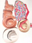 Vintage Barbie Lot Two Cowboy Hats Cowboy Boots Matching Bag And Hat